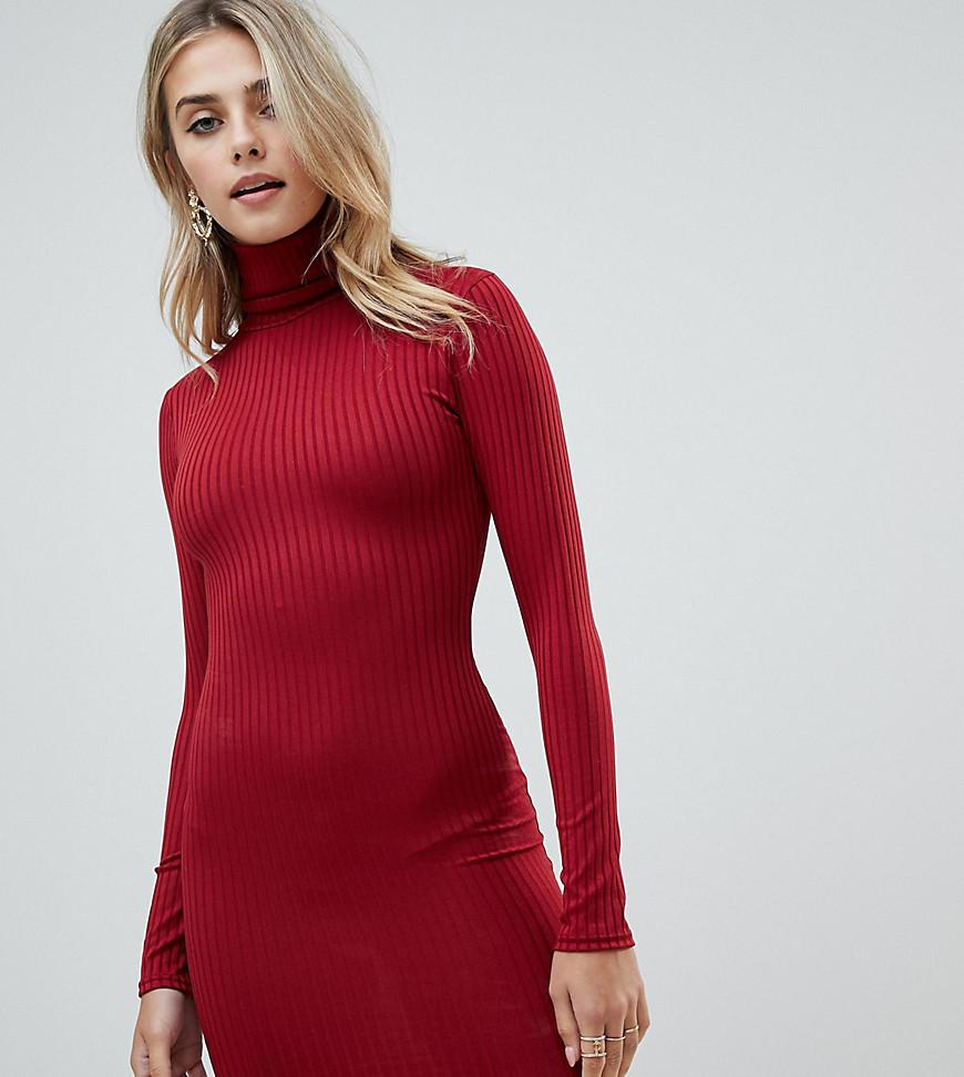 397f739a099 PRETTYLITTLETHING - Roll Neck Long Sleeve Bodycon Mini Dress In Red - Lyst.  View fullscreen
