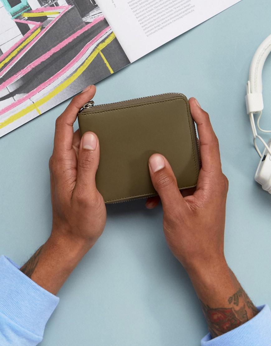 4852447c ASOS Asos Leather Oversized Zip Around Wallet In Khaki in Green for ...