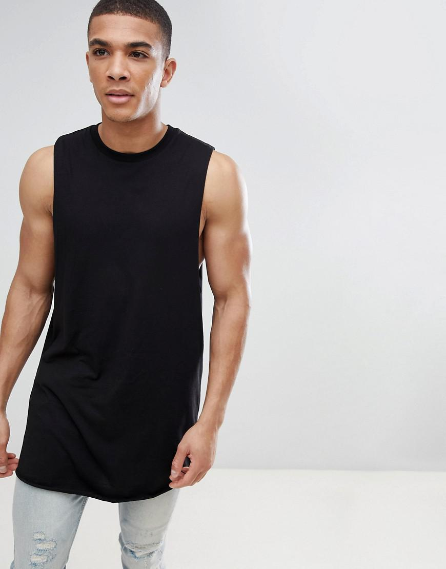 d3560557ff82e ASOS Super Longline Relaxed Sleeveless T-shirt With Curved Hem And ...