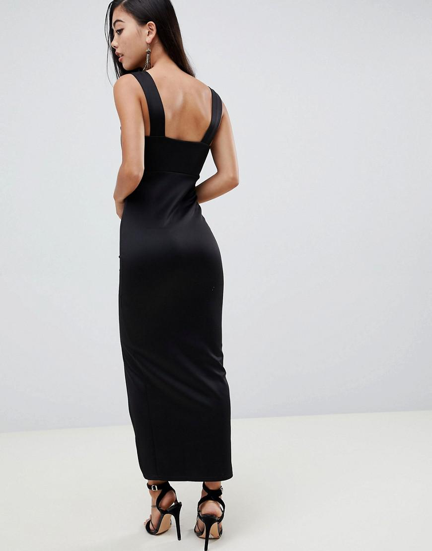 105a013fb3261 Lyst - ASOS Asos Design Petite Square Neck Maxi Dress With Thigh Split in  Black
