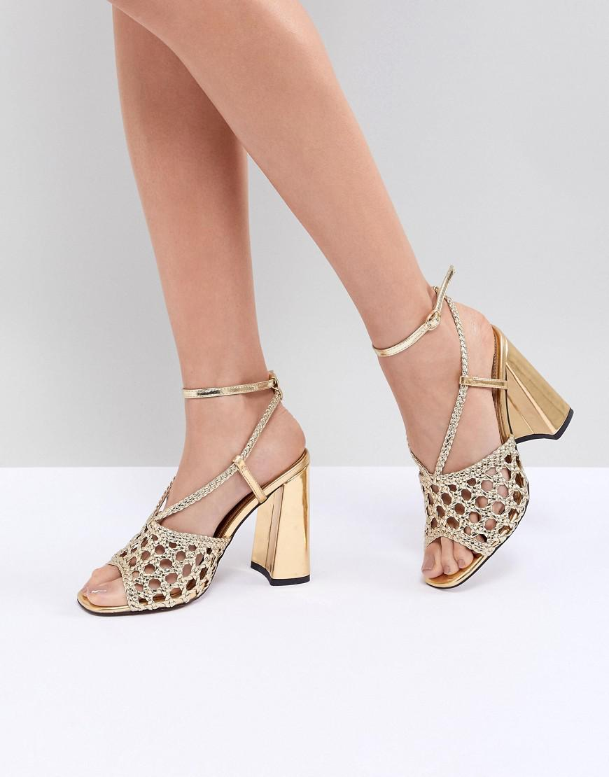 5b5c98859a4a Lyst - ASOS Helix Woven Block Heeled Sandals in Metallic