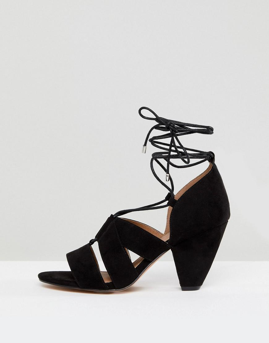 20fe1b004b0 Lyst - ASOS Asos Tali Wide Fit Lace Up Heeled Sandals in Black
