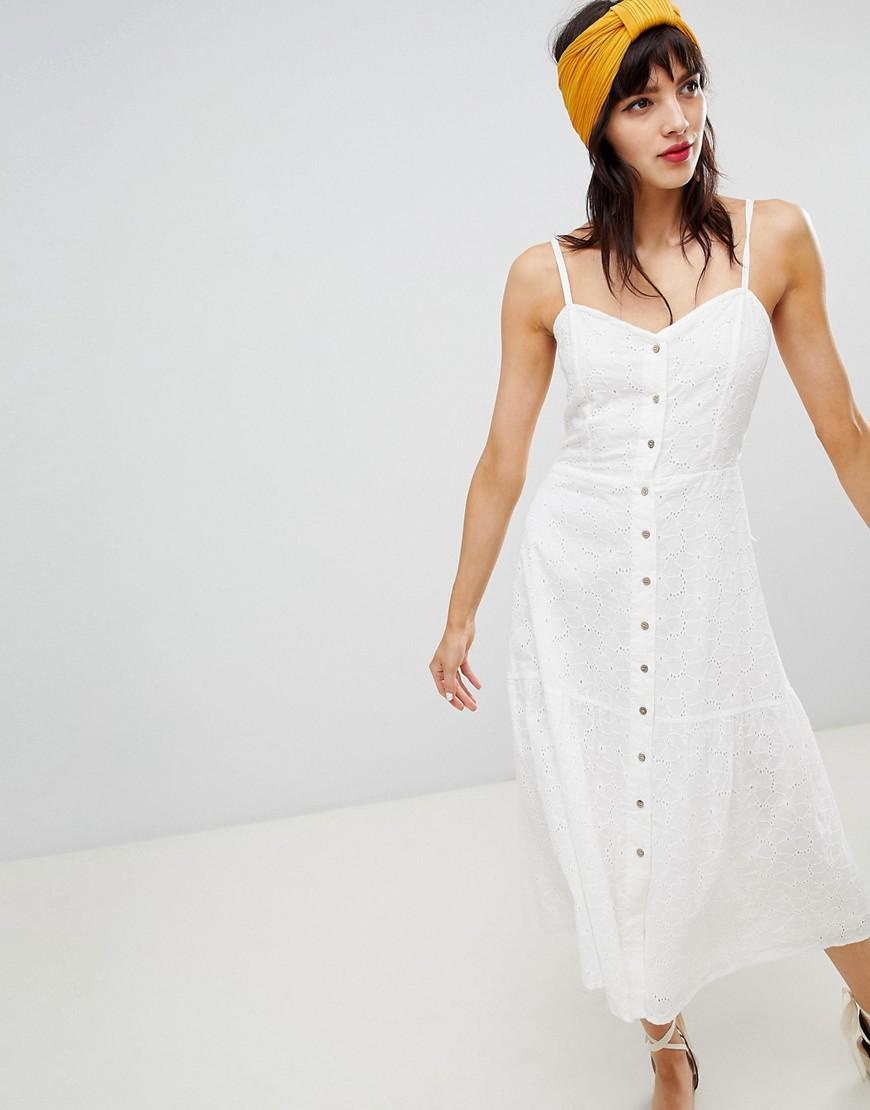 7385f56c9a1c3 Mango Knot Back Broderie Sundress In White in White - Lyst