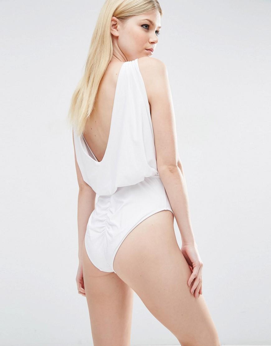 Asos Cowl Neck Swimsuit in White