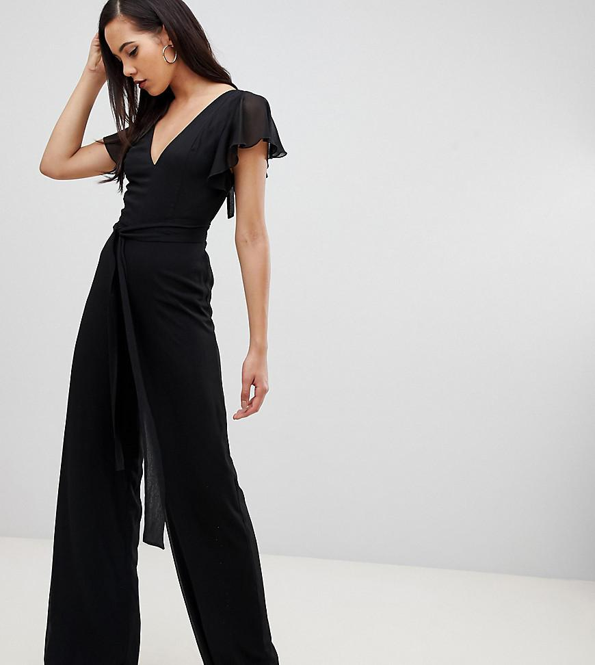 9a63f88dbe90 Lyst - ASOS Asos Design Tall Flutter Sleeve Jumpsuit in Black