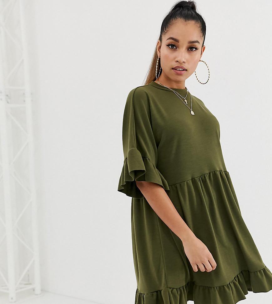 a6a62bab64c ASOS. Women s Green Asos Design Petite Mini Frill Sleeve Smock Dress ...