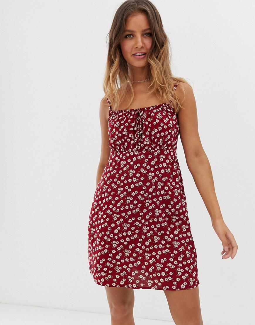 2f25b25c86d Hollister Summer Dress In Ditsy Floral in Red - Lyst