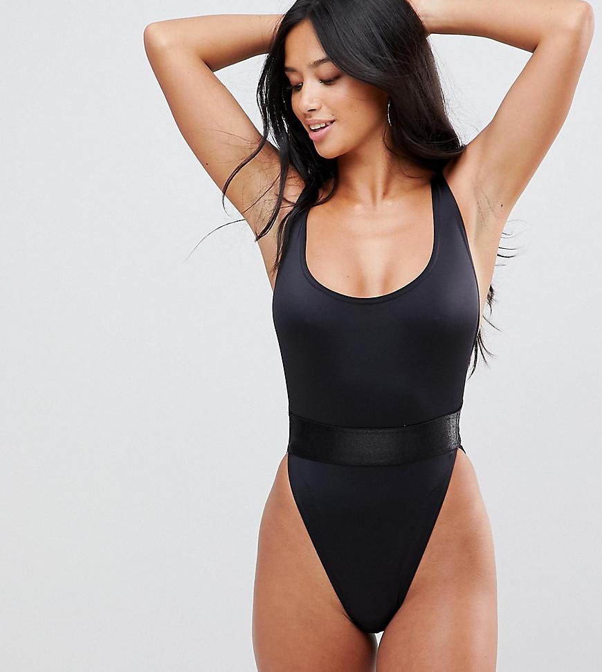 4438ecc5734 ASOS Asos Design Petite Recycled High Leg Elastic Waist Swimsuit in ...