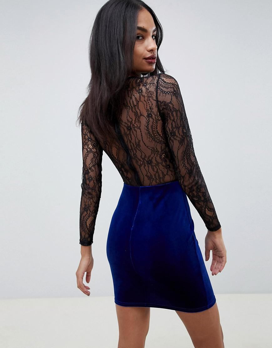 Lyst - ASOS Lace And Velvet Mix Mini Dress in Blue 20fc33e56