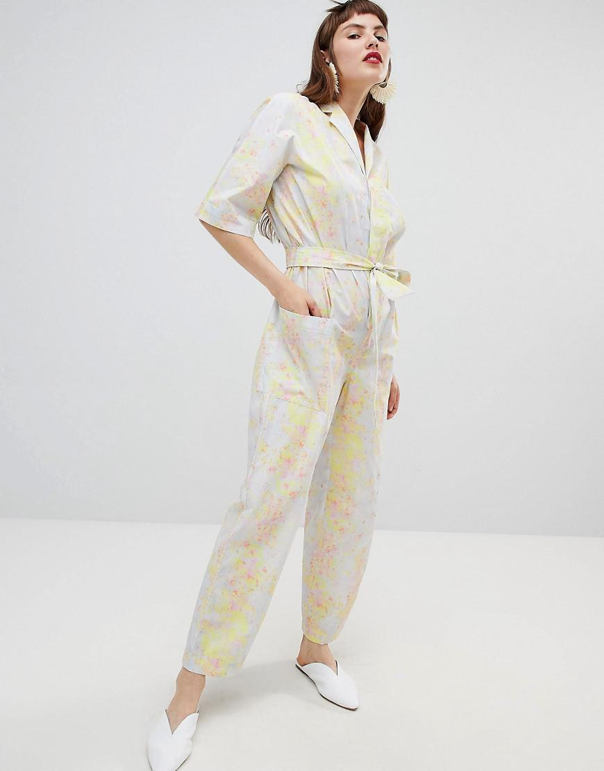 242f07725b1 Lyst - Mango Organic Cotton Jumpsuit In Abstract Floral Print