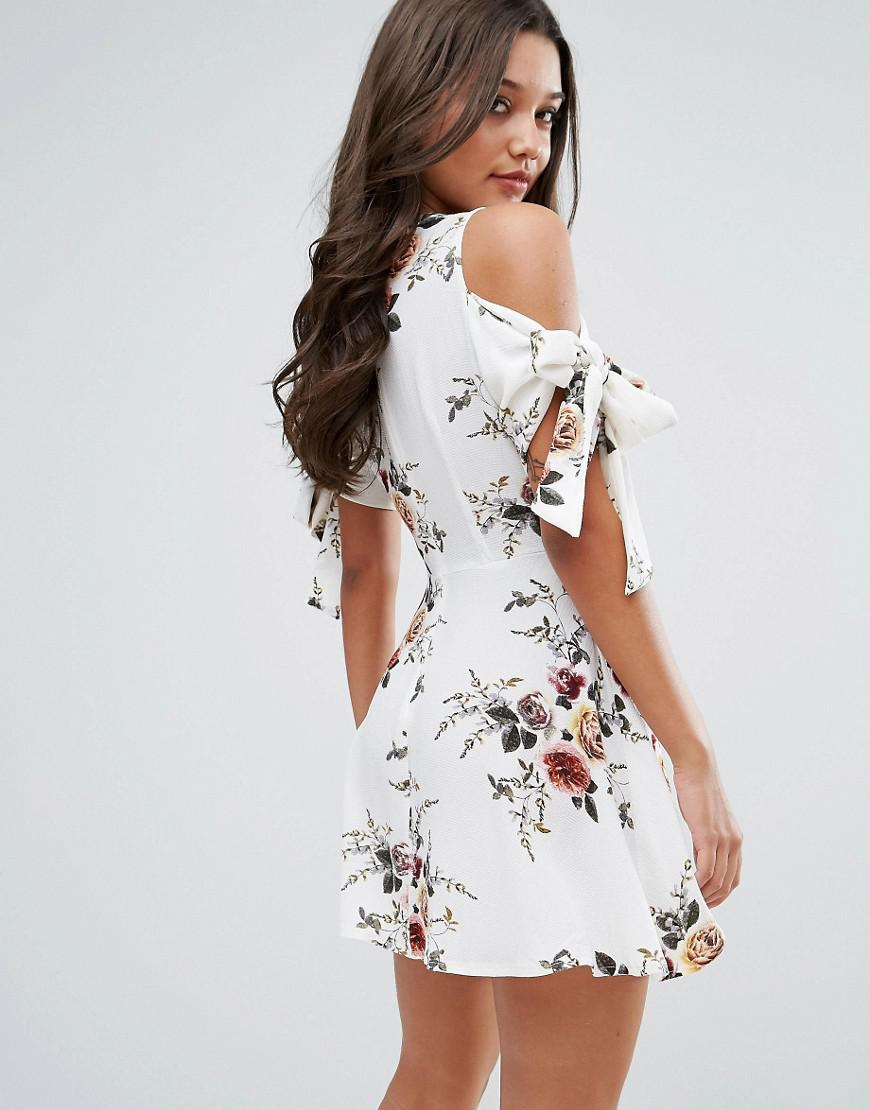 Floral Tie Sleeve Dress - Multi Missguided