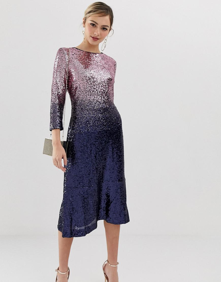 Lyst - Oasis Sequin Midi Dress In Ombre Purple in Purple ba4019f23