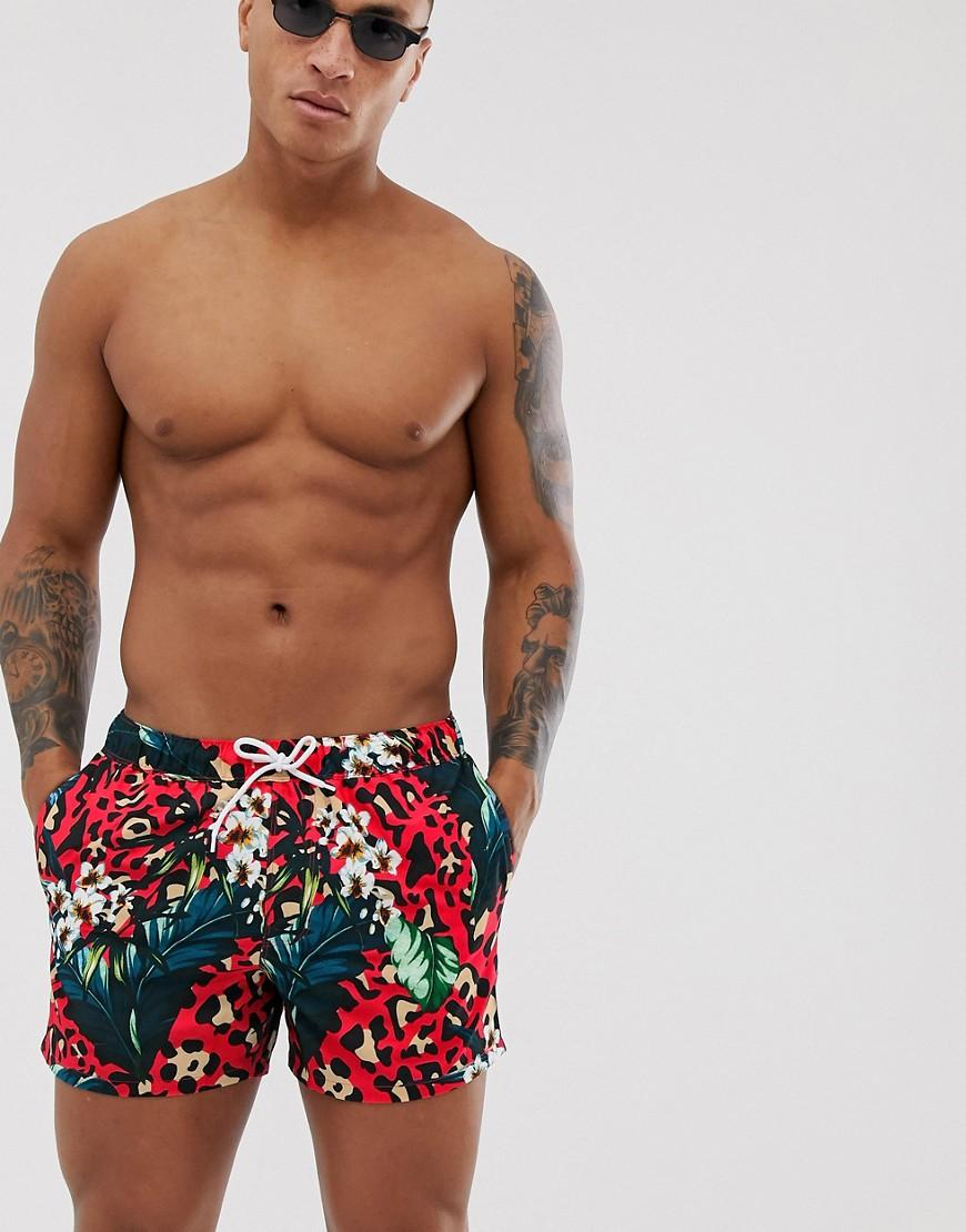 181c9d43c5 ASOS Co-ord Swim Shorts In Red Leopard & Leaf Print Short Length in ...