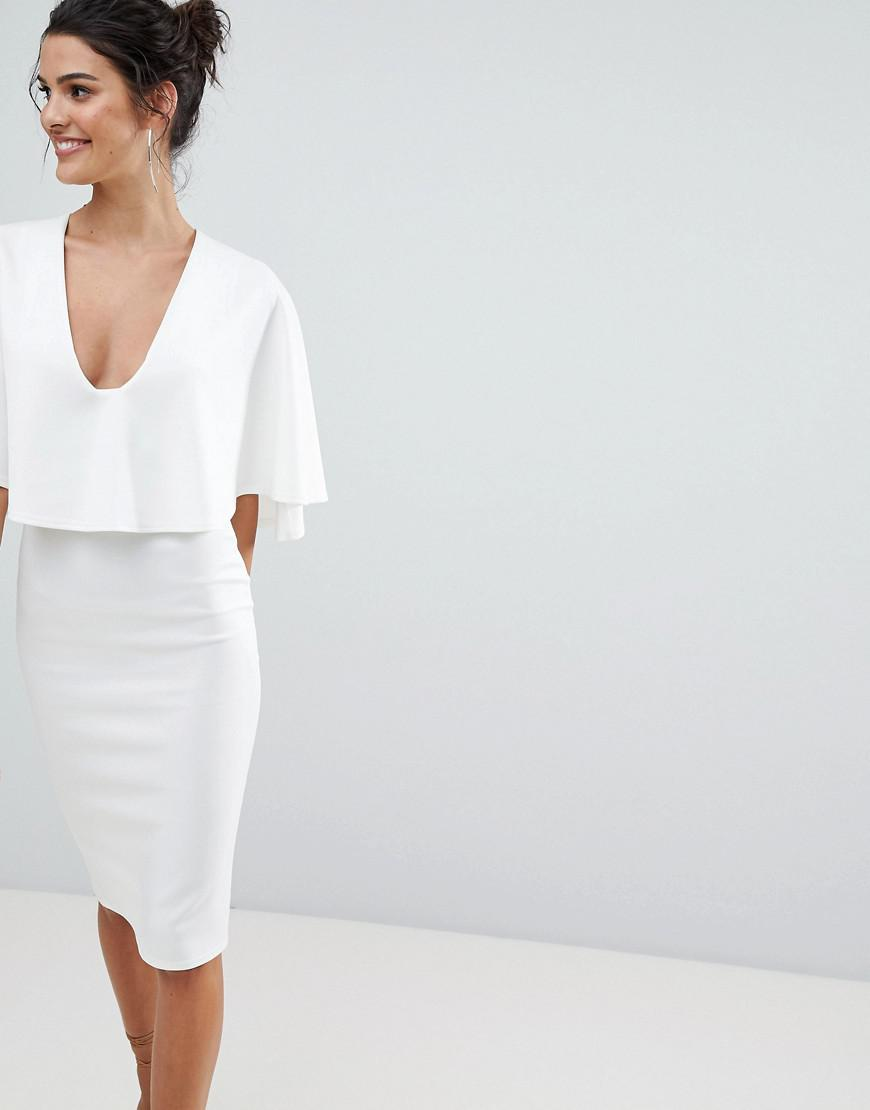 Lyst - ASOS Asos Cape Plunge Midi Bodycon Dress in White cf6f6a2a4
