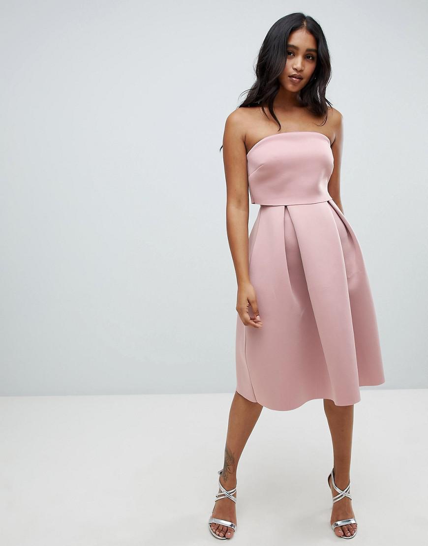 50215b54c025e ASOS Bandeau Crop Top Midi Prom Dress in Brown - Lyst