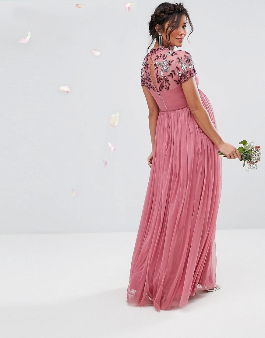 1e62509db2 Floral Short Sleeve Maternity Maxi Dress - Data Dynamic AG