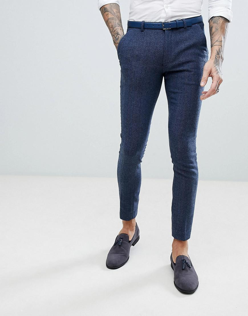 Discount Great Deals In China Cheap Online PLUS Wedding Super Skinny Suit Trousers In Petrol Blue Herringbone - Blue Asos Sale Best Sale Ncqe3