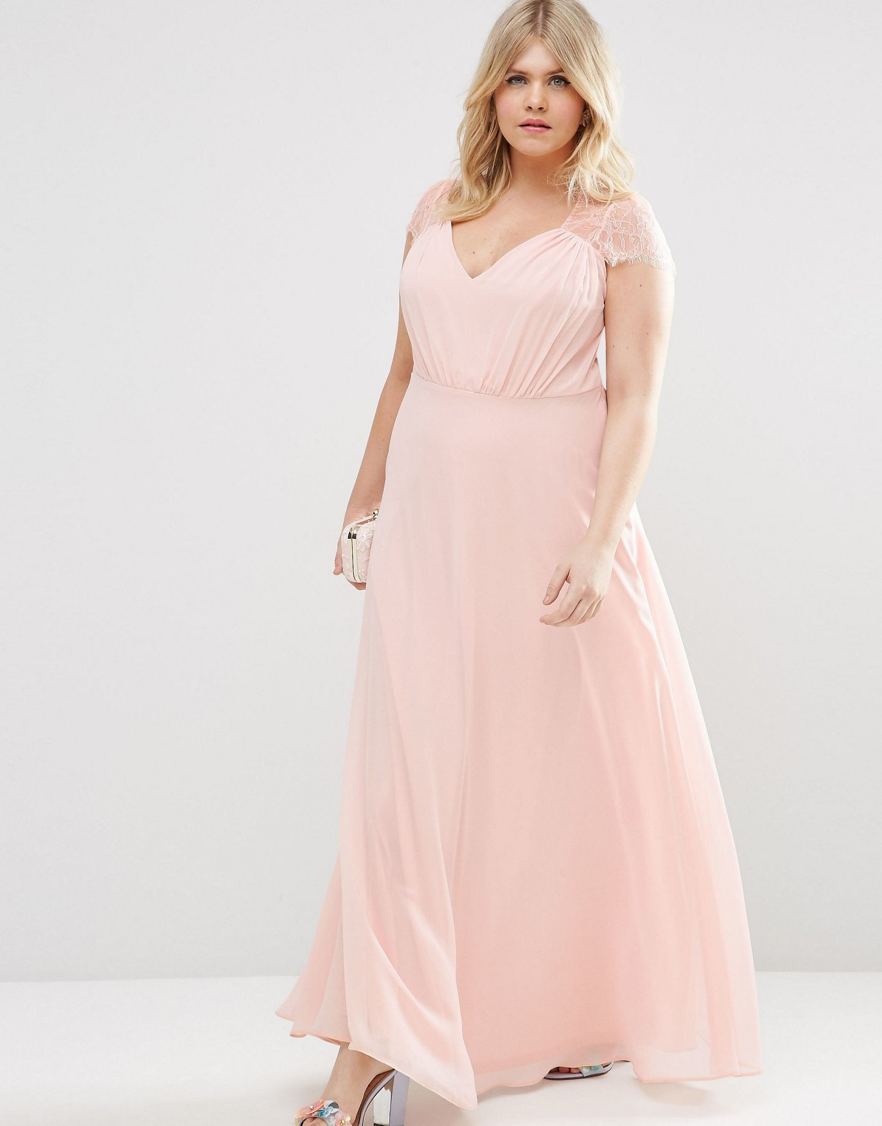 Lyst - Asos Curve Kate Lace Maxi Dress in Natural
