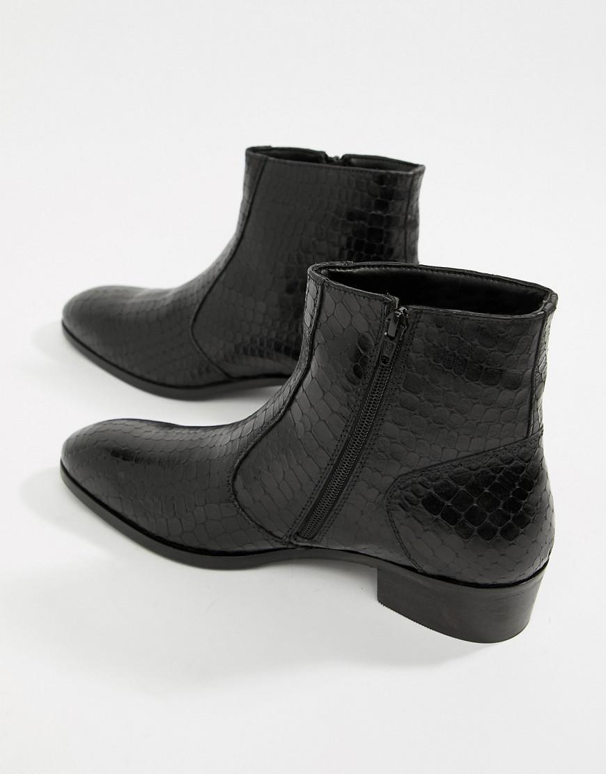 158700e6dfb84 Dune Cuban Heel Chelsea Boots In Black Croc in Black for Men - Lyst