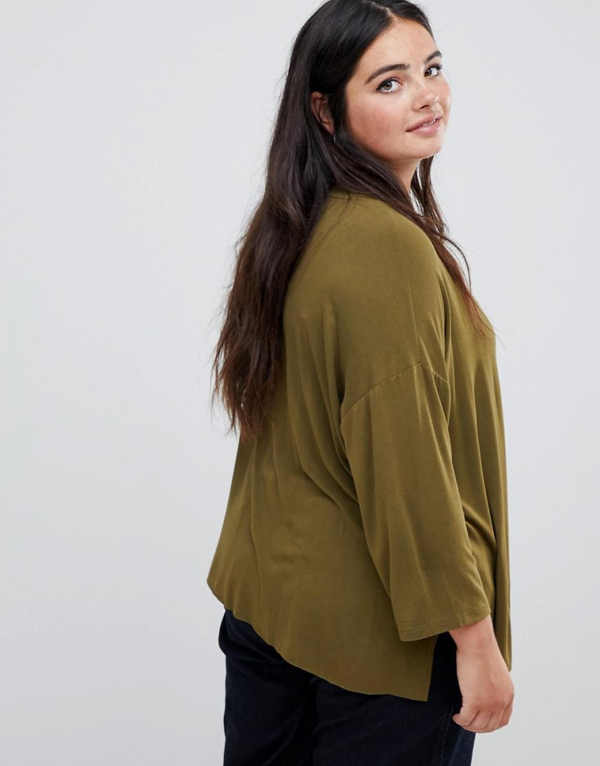 d782fd3b21584 Asos Asos Design Curve Top With 3 4 Sleeves In Drapey Fabric In Khaki in  Green - Lyst