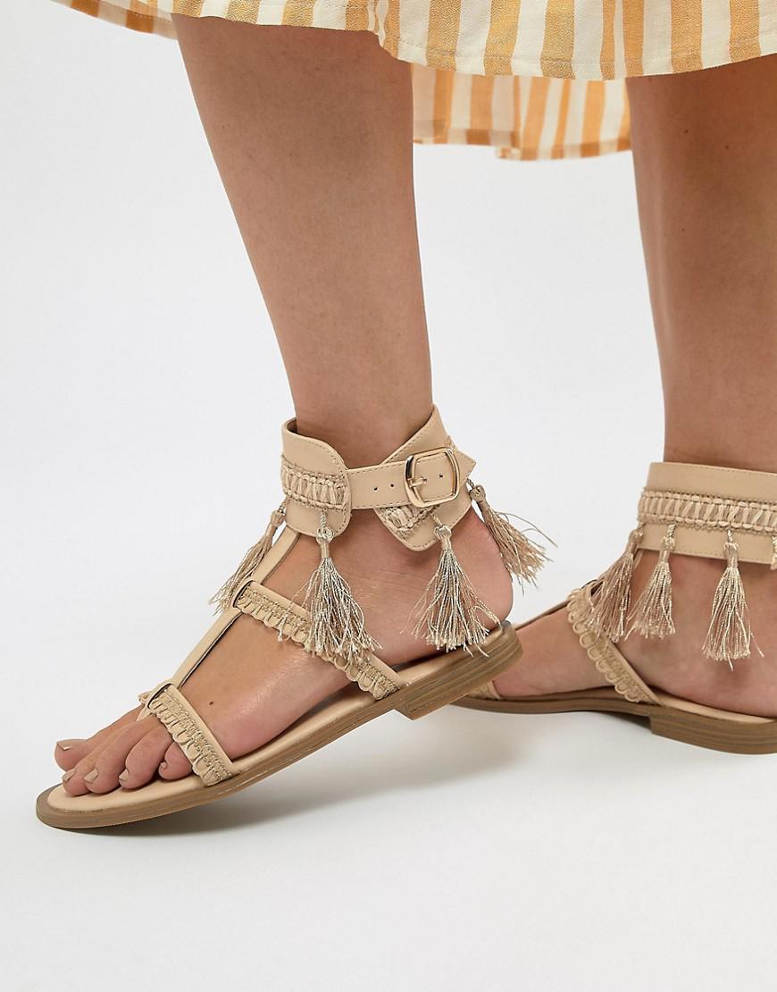 Missguided Sandales Plates - Blanc Pompon dl783