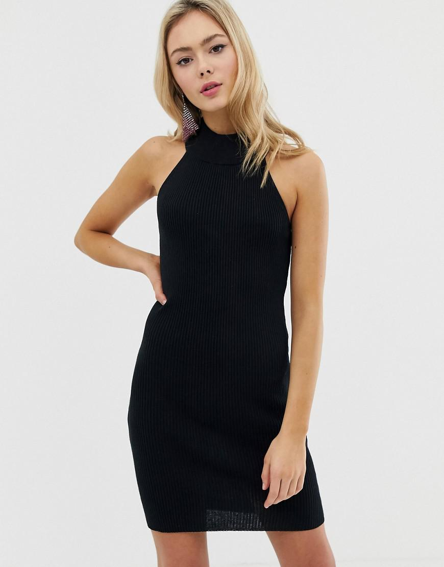 362fe5ca1a ASOS High Neck Mini Bodycon Dress With Ring Back in Black - Lyst