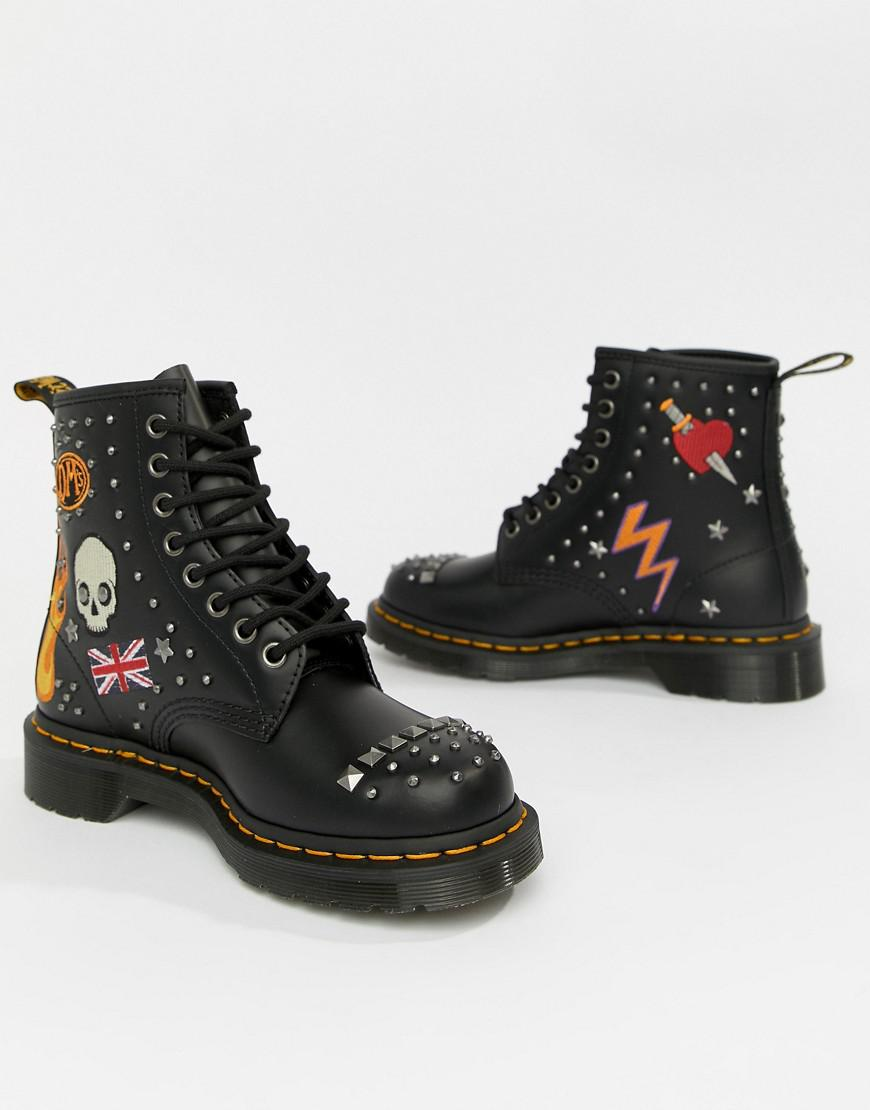 229662484cf Dr. Martens 1460 Black Leather Rockabilly Flat Ankle Boots in Black ...