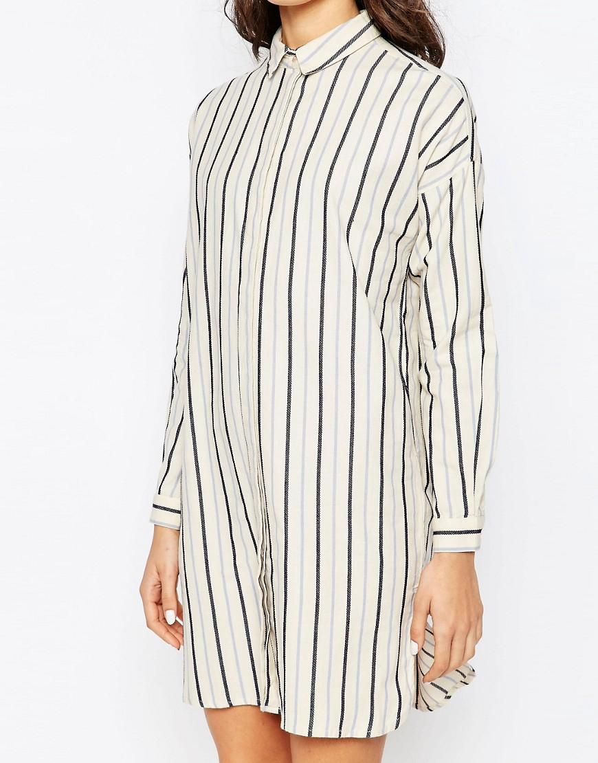 d4a5f8f7096 Lyst - Vila Winther Stripe Long Shirt In White in White