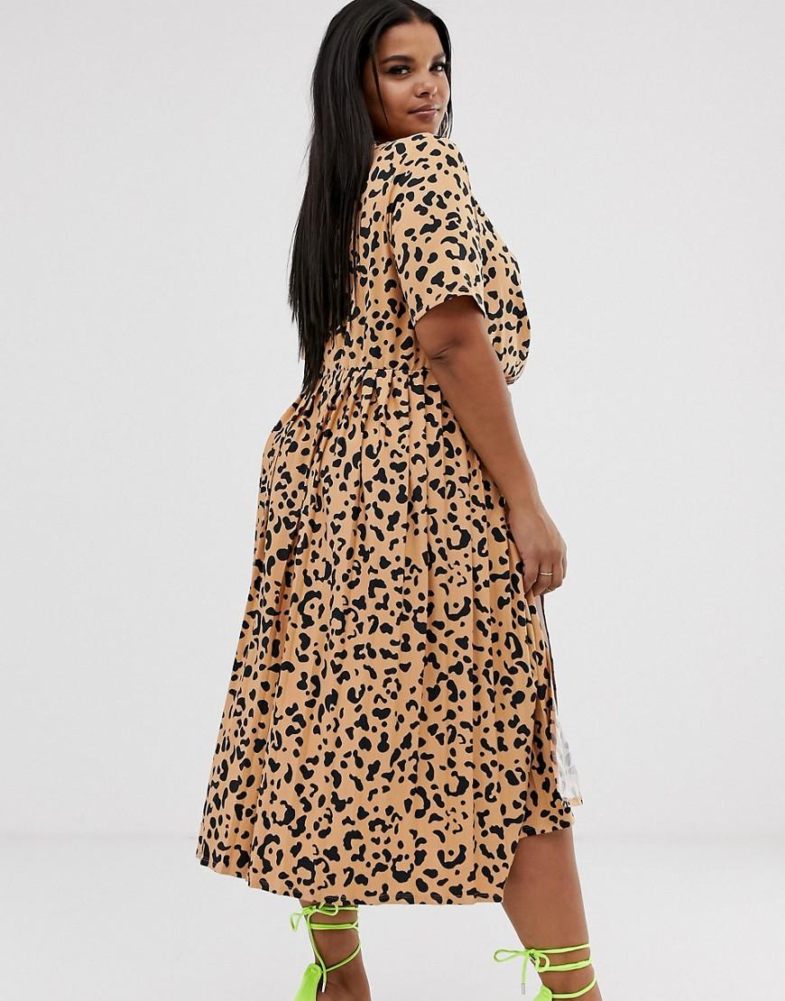 8237b64e1e ASOS Asos Design Curve Pleated Skirt Midi Dress With Button Detail In  Animal Print - Lyst