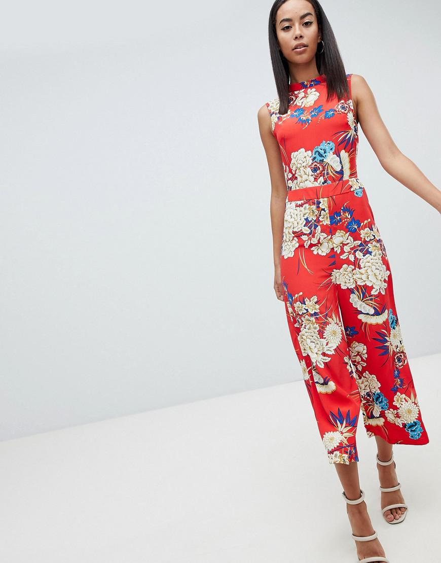 d602a1587a8 Lyst - Missguided Open Back Floral Culotte Jumpsuit in Blue