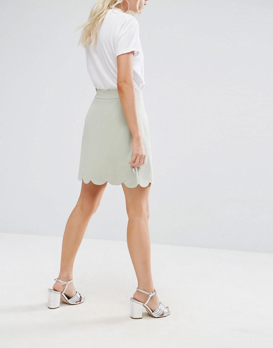 d197eb30bb ASOS Tailored A-line Mini Skirt With Scallop Hem in Green - Lyst