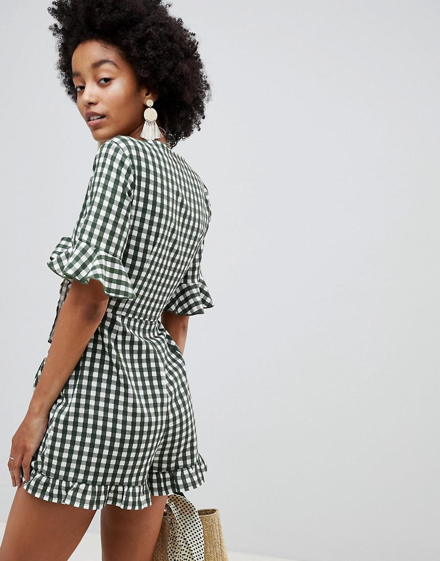 9917633ef4 Lyst - ASOS Romper With Cut Out And Tie Detail In Linen In Gingham
