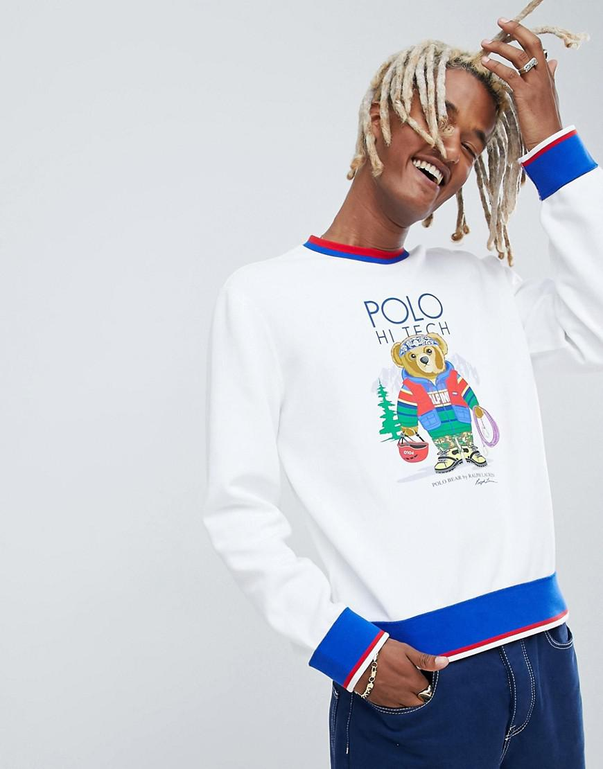 db9e099d Polo Ralph Lauren. Men's Hi Tech Capsule Bear Print Sweatshirt Tipped Trim  In White