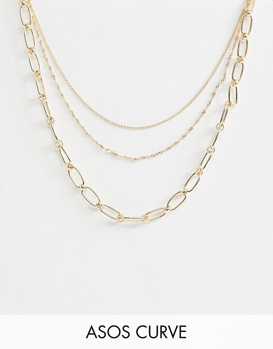 c2ef0e185448 Collar con varias hileras con eslabones abiertos y cadena de puntos ...