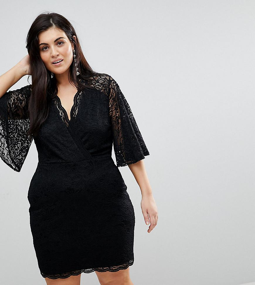 Asos Cape Plunge Lace Mini Dress in Black - Lyst 62ace9f16
