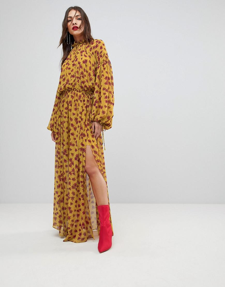 Lyst Mango Split Front Floral Maxi Dress In Yellow