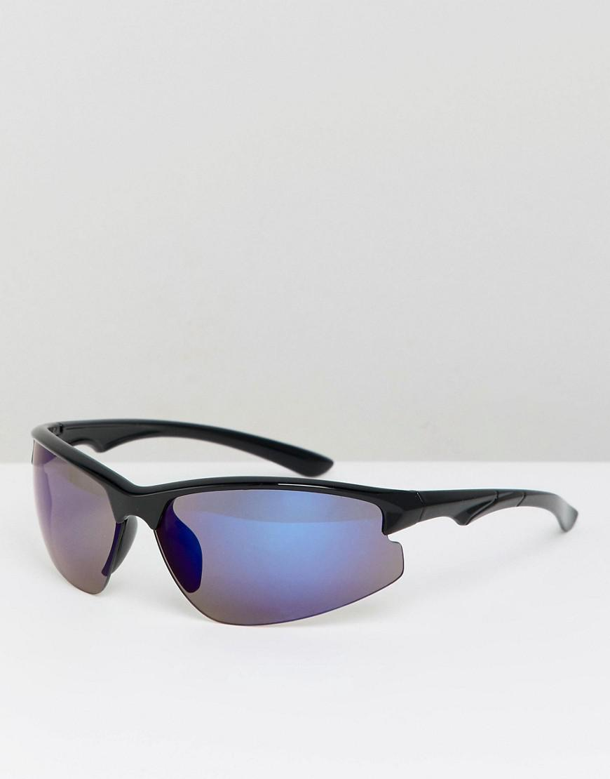 8ead66db1f Lyst - ASOS Visor Sunglasses In Black With Blue Mirror Lens in Black ...