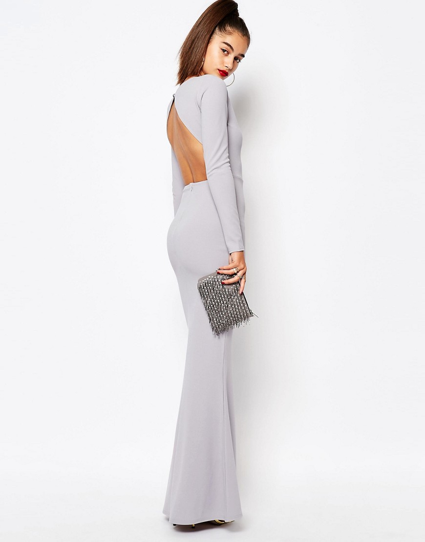 b8647dc775 Lyst - Missguided Long Sleeve Open Back Maxi Dress in Gray