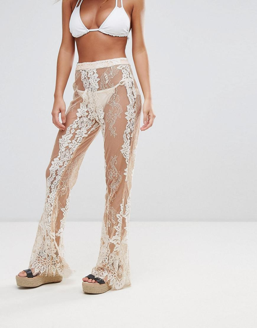 94dbe9c80e Missguided Premium Lace Beach Pant in White - Lyst