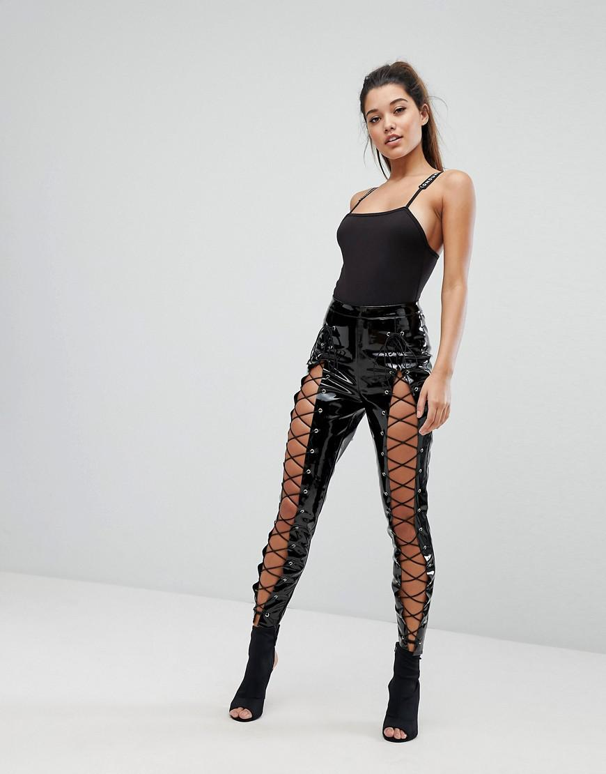 3c8d55b9c9581 Missguided Londunn Vinyl Lace Up Pant in Black - Lyst