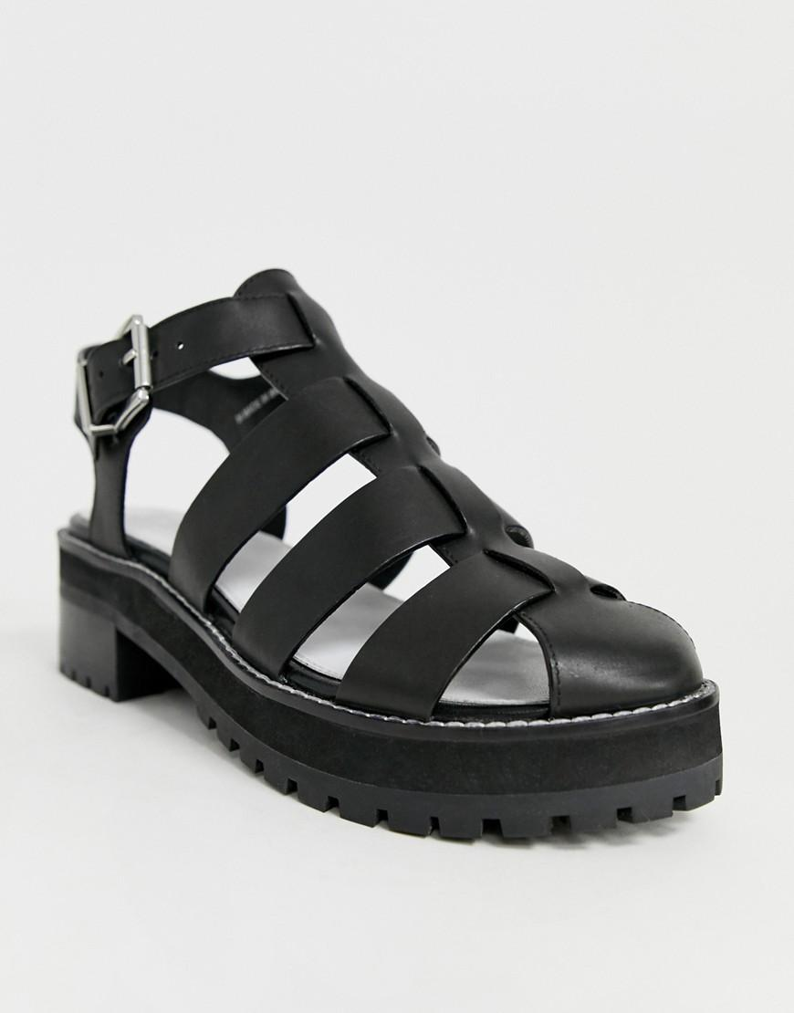 bfd0cccec82a ASOS Fisherman Premium Chunky Flat Leather Sandals in Black - Lyst