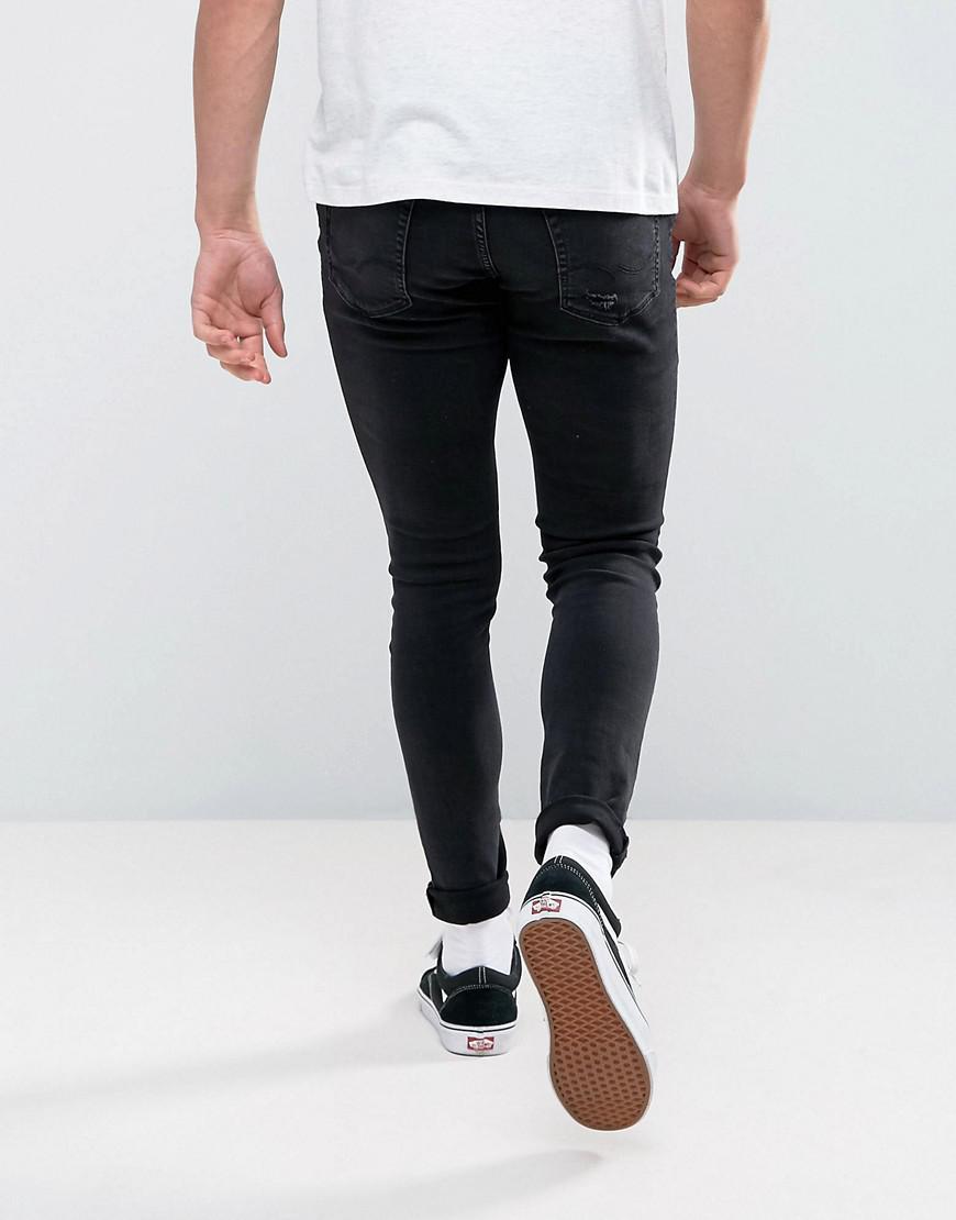 04ef26c12ec4 Jack   Jones Intelligence Jeans In Skinny Fit Ripped Black Denim in Black  for Men - Lyst