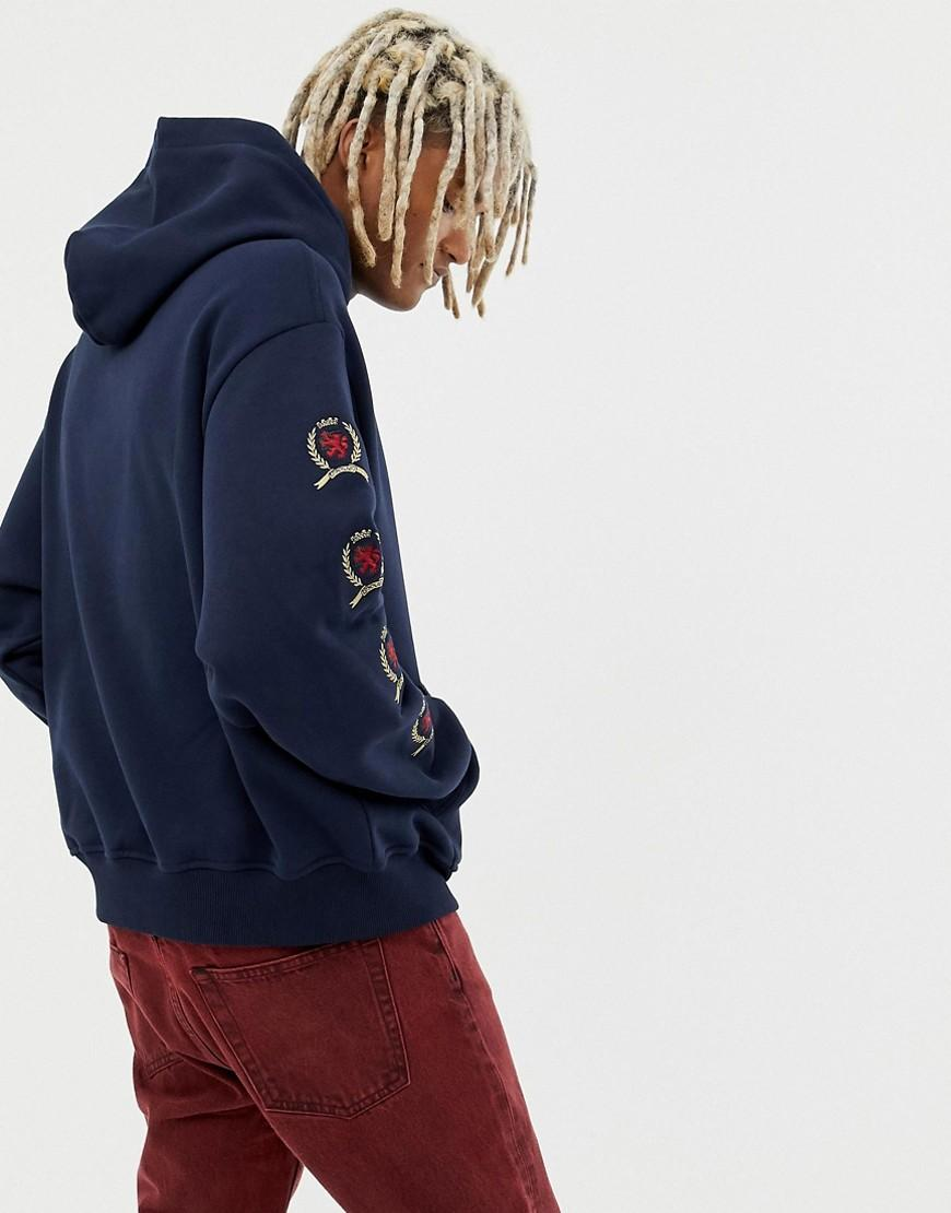 ab5b8dbbf0ea0b Lyst - Tommy Hilfiger 6.0 Limited Capsule Hoodie With Repeat Crest Logo In  Navy in Blue for Men