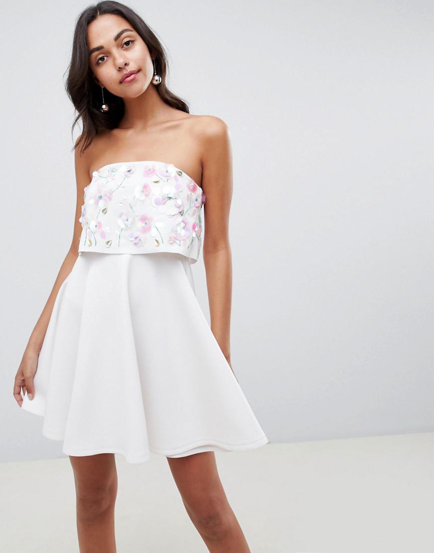 85e5d294862f ASOS. Women's White Scuba Embellished Crop Top Bandeau Skater Mini Dress