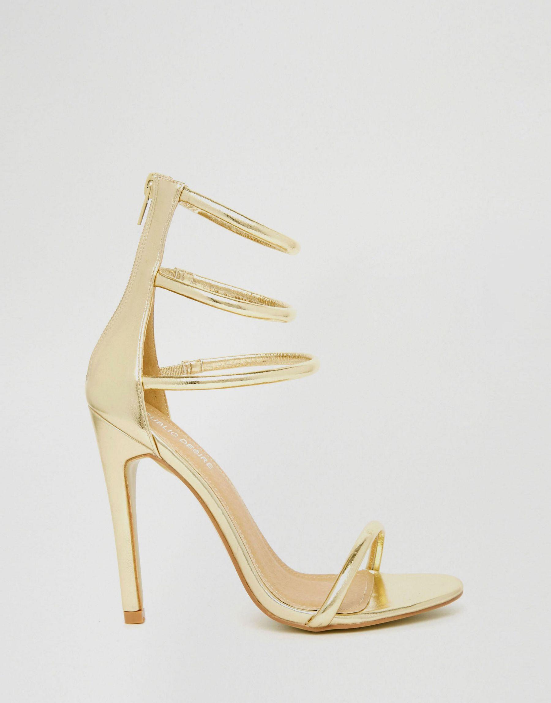 247935bf17a2ba Lyst - Public Desire Aisha Gold Strappy Heeled Sandal in Metallic