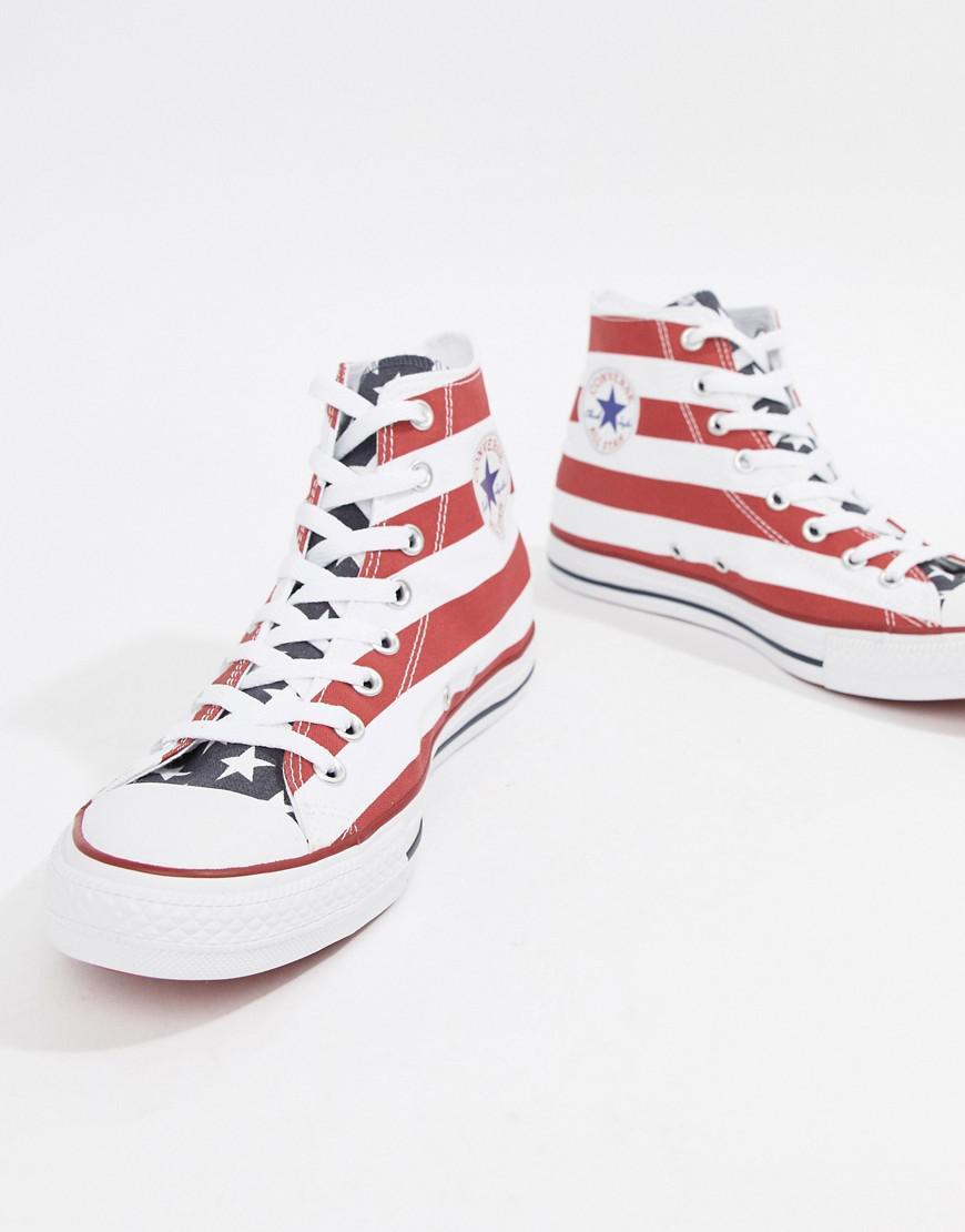 Chuck Taylor All Star Print Hi Plimsolls M8437C - Red Converse qXlbt