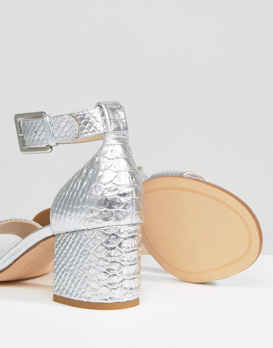 895c64eb17b3 Lyst - Dune Jaygo Two Part Block Heel Metallic Sandal in Metallic