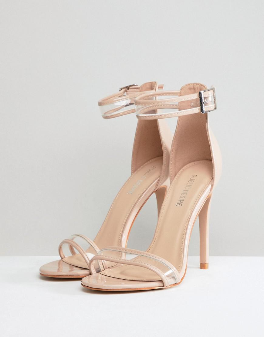506bc0e95ec7 Public Desire Aurelia Clear Strap Sandals in Natural - Lyst