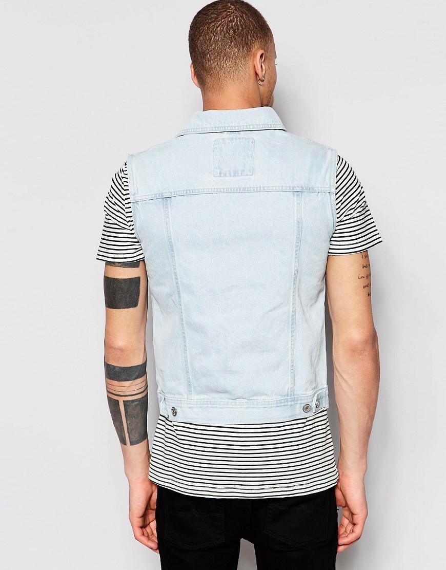 Pull bear sleeveless denim jacket in bleach wash in blue for Bear river workwear shirts