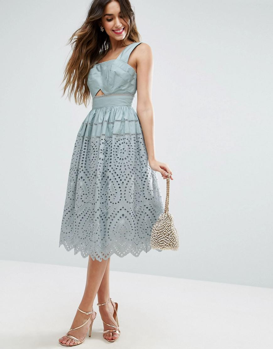 Lyst - Asos Broderie Prom Dress in Blue